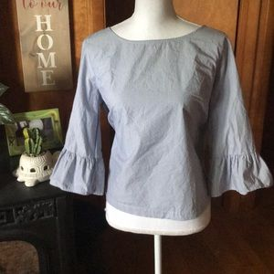 Sz Large Madewell Bell Sleeve Striped Blouse